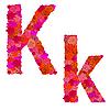 Векторный клипарт: Цветочный алфавит из красных роз, персонажи Kk
