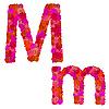 Векторный клипарт: Цветочный алфавит из красных роз, персонажи Mm