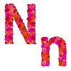 Векторный клипарт: Цветочный алфавит из красных роз, персонажи Nn
