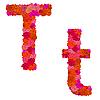 Векторный клипарт: Цветочный алфавит из красных роз, персонажи Tt