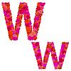 Векторный клипарт: Цветочный алфавит из красных роз, персонажи Ww