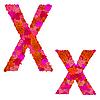 Векторный клипарт: Цветочный алфавит из красных роз, характеры Хх