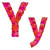 Векторный клипарт: Цветочный алфавит из красных роз, персонажи Yy