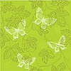 Vector clipart: Seamless pattern with with leaves and butterflies