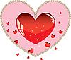 Векторный клипарт: Валентина украшение с красным сердцем любви