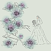 Vector clipart: bride girl and flower