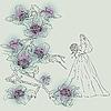 Векторный клипарт: невеста и цветы