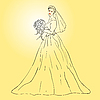 Vector clipart: Bride in wedding dress white with bouquet