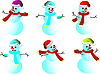 Vector clipart: Cartoon snowmen in Christmas hats