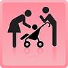 Мужчина и женщина с ребенком - значок