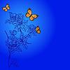 Векторный клипарт: цветочный паттерн с бабочками