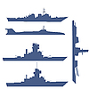 Vector clipart: four ship silhouettes