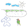 Vector clipart: Children's drawing the sun bird and the boy