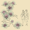Vector clipart: fashion girls on floral background