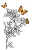 Векторный клипарт: цветы с бабочками