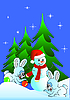Hares and snowman