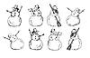 Векторный клипарт: мультяшные снеговики