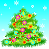 New Year`s card with fir-tree