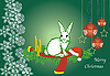Vector clipart: Christmas card with white hare
