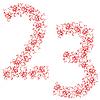 Vector clipart: ornamental alphabet. Digits 23