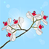 Vector clipart: twig blossoming orchids on background