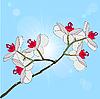 Vektor Cliparts: Zweig blühende Orchideen auf einem Hintergrund