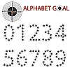 Vektor Cliparts: Alphabet des Ziels, das Ziel zu treffen