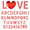 Vector clipart: letters and numbers made of hearts
