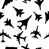 Vector clipart: Seamless pattern of military aircrafts