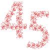 Vector clipart: ornamental alphabet. Digits 45