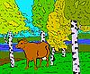 sonnige Herbstlandschaft mit Wald, Fluss und Kuh