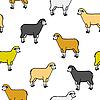 Vektor Cliparts: nahtlose Tapete mit Schafen und Widdern