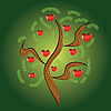 Vector clipart: apple tree with red fruits as hearts