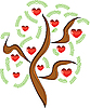 apple tree with red fruits as hearts