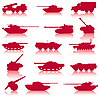 Vector clipart: Collection set of tanks of guns