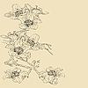 Vector clipart: tender twig blossoming orchids on light background