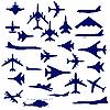 Vektor Cliparts: Kampfflugzeuge und-hubschrauber.