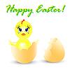 Vektor Cliparts: Ostern mit Huhn sitzt in Ei