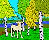 Vektor Cliparts: Herbst sonnige Landschaft mit Wald Fluss und Ziege - illu
