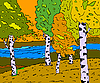 Vector clipart: autumn sunny landscape with forest river -