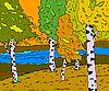 Vektor Cliparts: Herbst sonnige Landschaft mit Wald Fluss -
