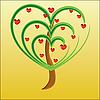 Vektor Cliparts: Apfelbaum mit roten Früchten in Form von Herzen
