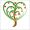 Vector clipart: apple tree with red fruits in the form of heart