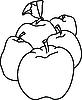 Vector clipart: plum, apple and pear