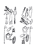 Vector clipart: Collection of contours of various tools
