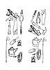 Vektor Cliparts: Sammlung der Konturen von verschiedenen Tools
