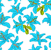 Vector clipart: Seamless background with flower lily.