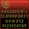 Vektor Cliparts: Herz Alphabet und Zahlen