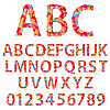 Vector clipart: Alphabet design in colorful style.