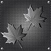 Vektor Cliparts: Metallschild Ahornblatt Hintergrund mit Nieten